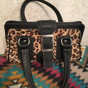 Leopard and leather purse
